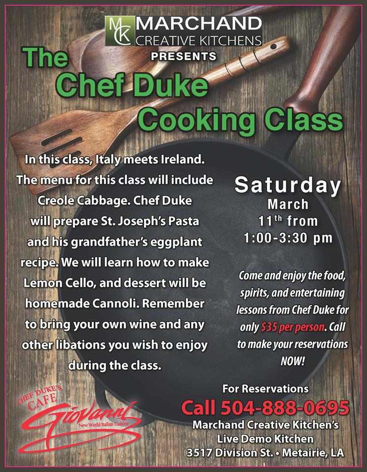 Chef Duke Cooking Class at Marchand Creative Kitchens