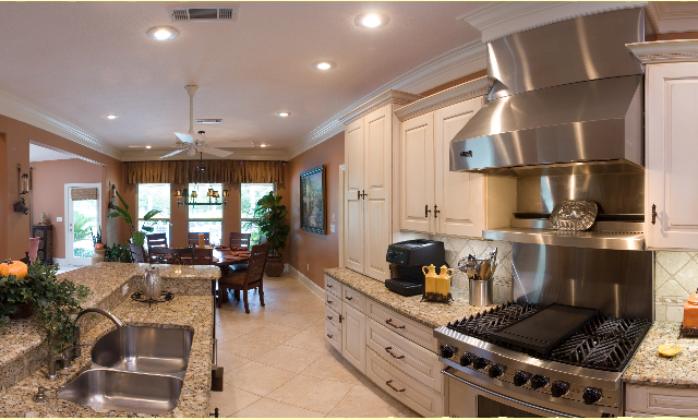 Dura Supreme white cabinets, granite countertops, stainless appliances | Marchand Creative Kitchens Cabinets New Orleans Metairie Mandeville LA
