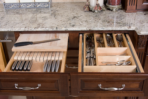 kitchen drawer open for cutlery | Marchand Creative Kitchens Cabinets New Orleans Metairie Mandeville LA