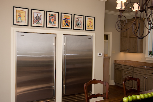 two refrigerators in the wall | Marchand Creative Kitchens Cabinets New Orleans Metairie Mandeville LA