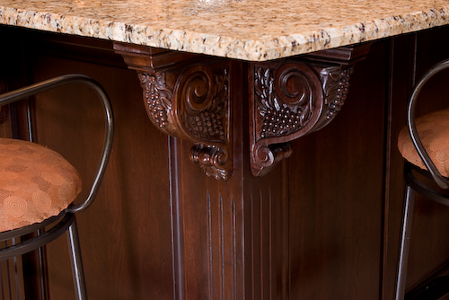 decorative cabinet cornices dark wood | Marchand Creative Kitchens Cabinets New Orleans Metairie Mandeville LA
