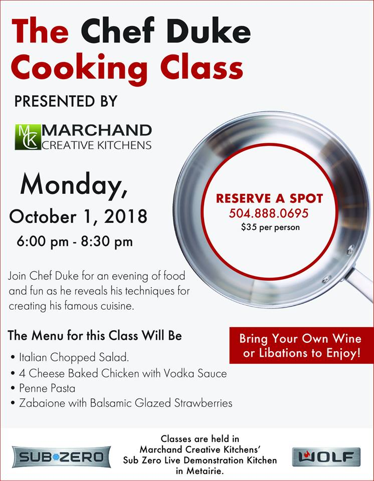 October Chef Duke Cooking Class at Marchand Creative Kitchens