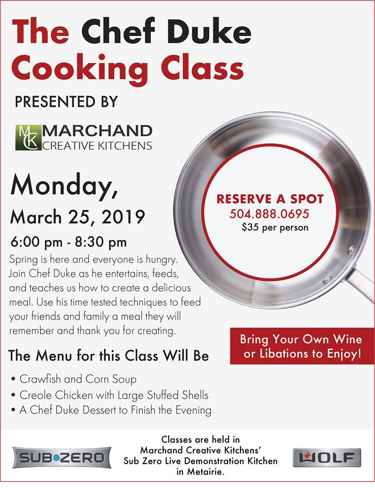 March 25 2019 Chef Duke Cooking Class   Marchand Creative Kitchens