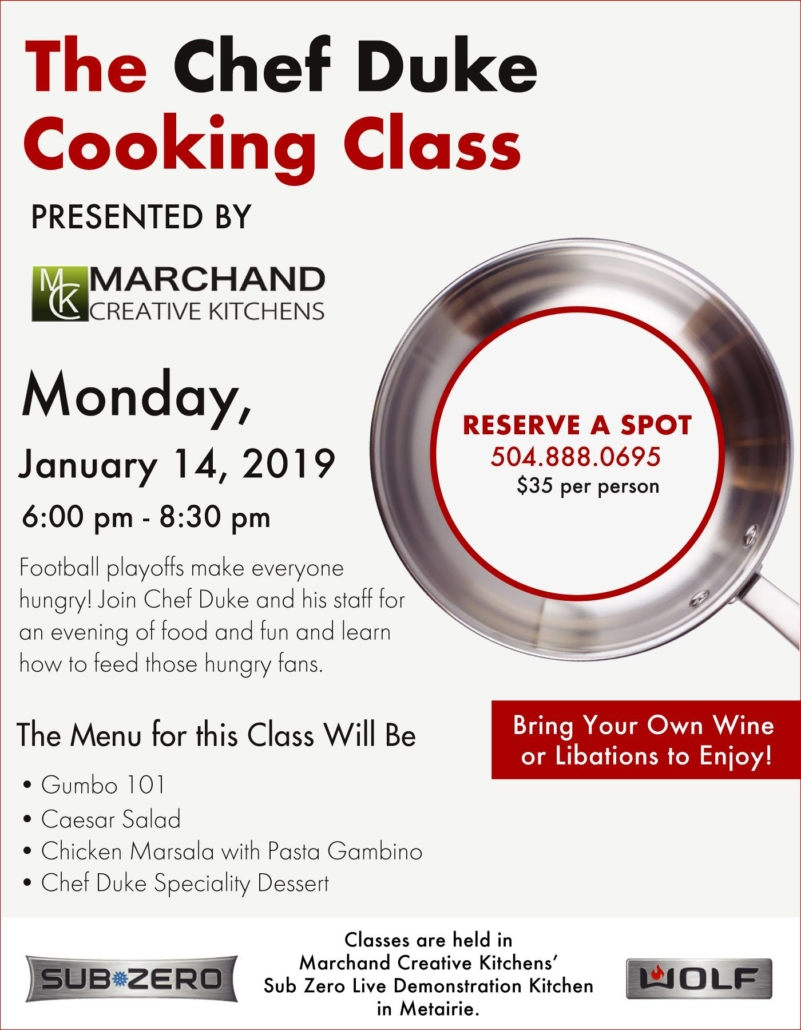 January 14 2019 Chef Duke Cooking Class   Marchand Creative Kitchens