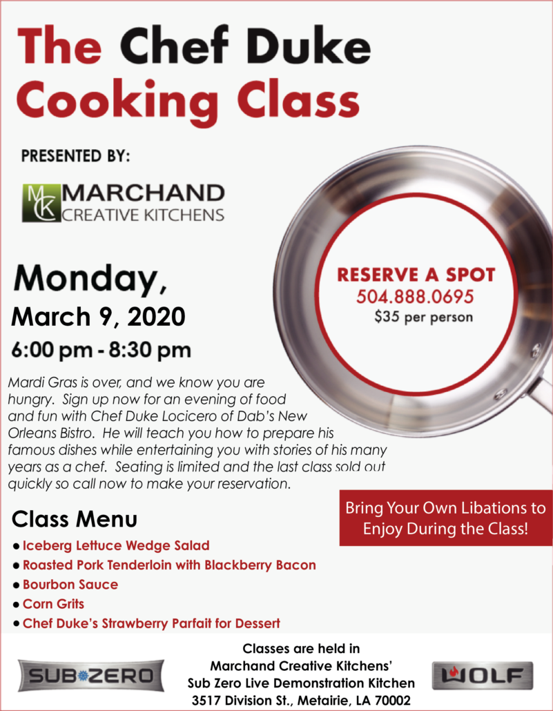 Chef Duke class full flier March 2020 | Marchand Creative Kitchens Cabinets New Orleans Metairie Mandeville LA