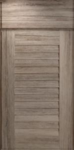 grey louvered cabinet door